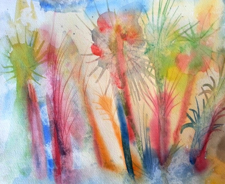 Wild forest, Watercolor on paper
