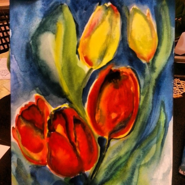 RadkaZimova_Yellow_Red_Tulips_Watercolor