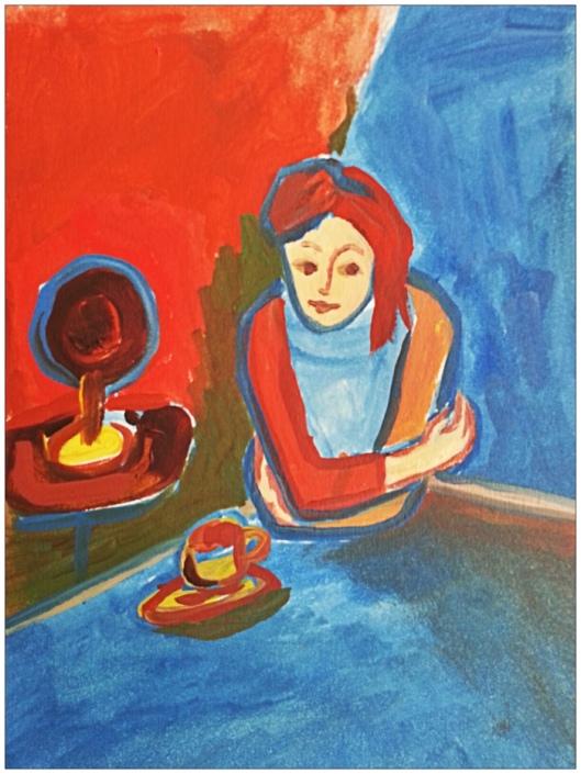 Jana in cafe in Prague by Radka Z King