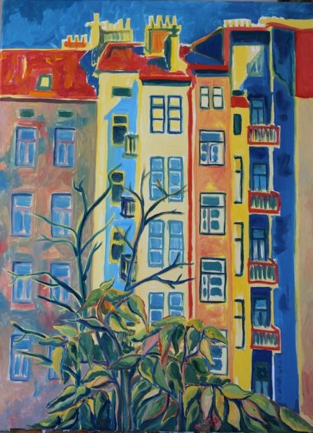 Courtyard, Gorazdova, Prague, Oil on canvas