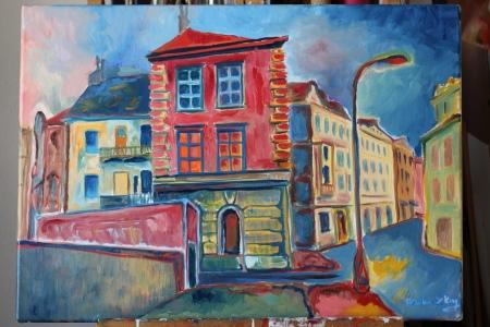Podskali, corner house near Vyton, Oil on canvas