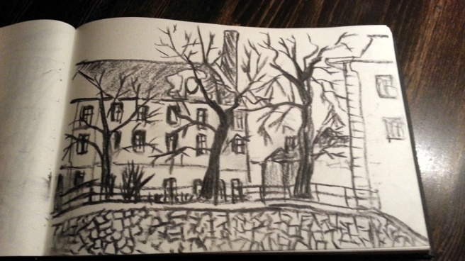 Charcoal on paper, sketch from Prague, New Town, Na Zderaze