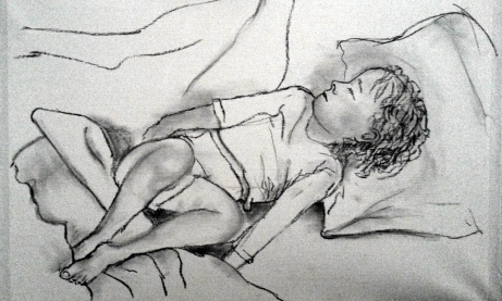 Charcoal sketch on paper - sleeping boy