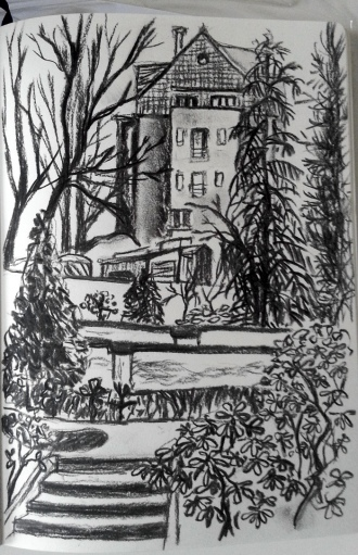 Botanic garden, Prague 2, Karlov, Charcoal sketch by Radka