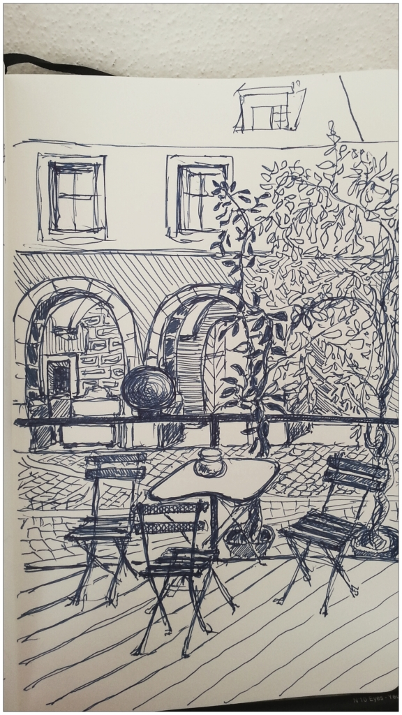 Cafe Neustadt Prague pen drawing
