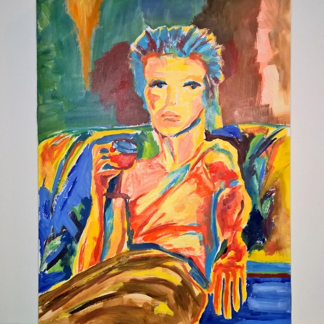 David Bowie oil on bamboo paper by Radka Zimova King