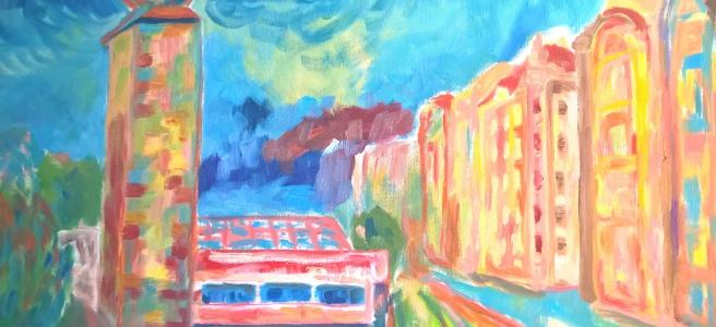 Prague Manes, oil painting, session 2, detail, 2016